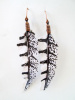 Fabric Feather Earrings- White and Black