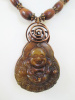 Agate Buddha Pendant with Wood Beads