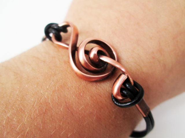 Treble Clef Bracelet with Leather Bands- Unisex Men and Women