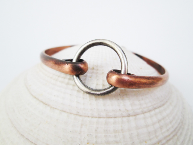 Sterling Silver Circle Bracelet with Copper