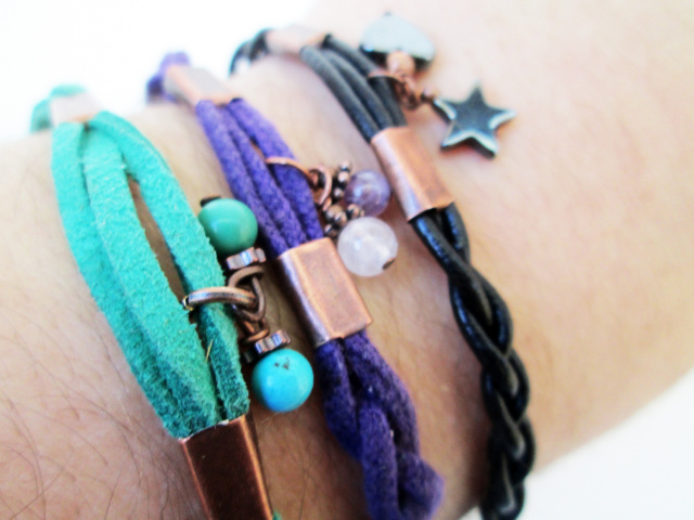 Braided Stacking Bracelet with Gemstone Charms