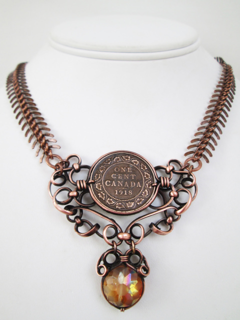 Antique Crystal Penny Necklace