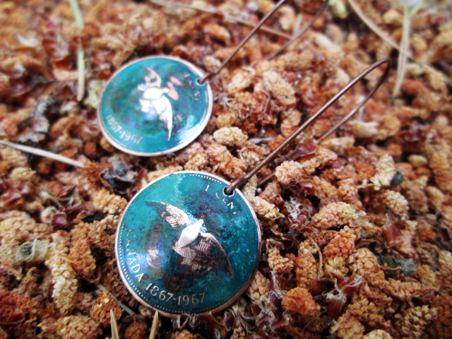 Domed 1967 Canadian Penny Earrings