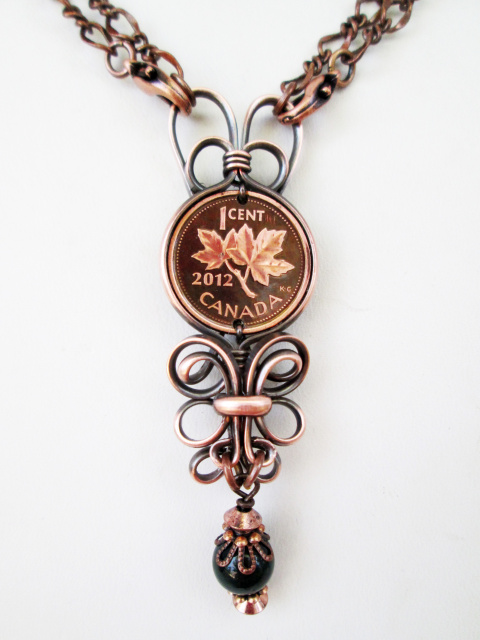 Elegant Canadian Penny Necklace W. Stone (long)