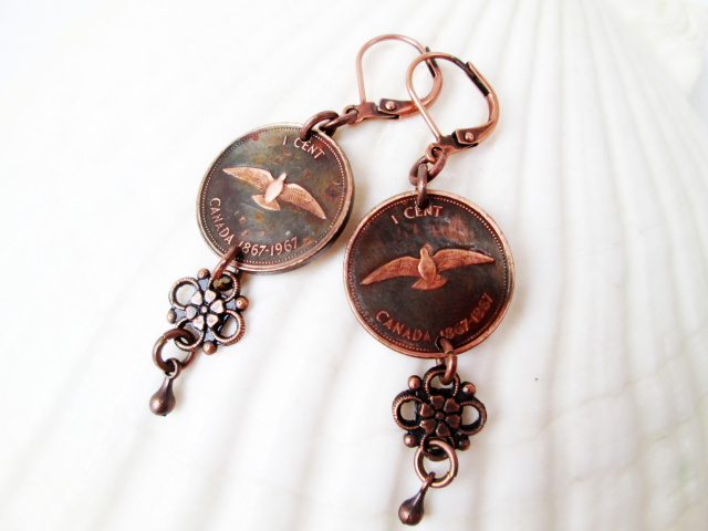 Canadian Penny Earring with Flower Drop (1967 dove)