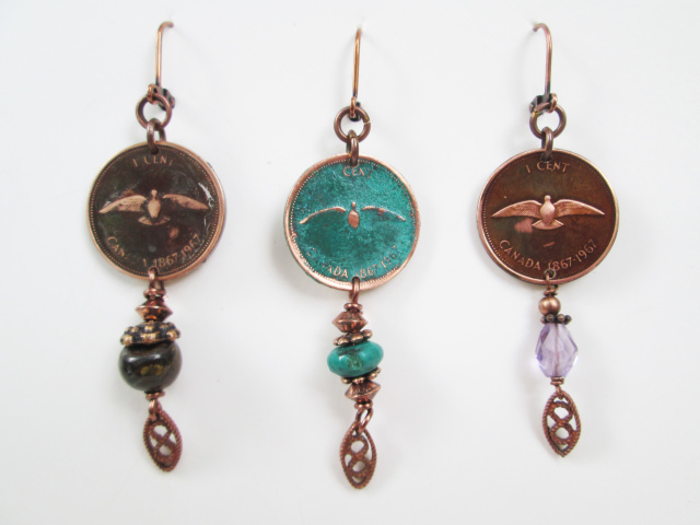 Penny Earring W. Stone/Feather (1967 dove)