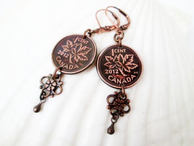 Canadian Penny Earring with Flower Drop