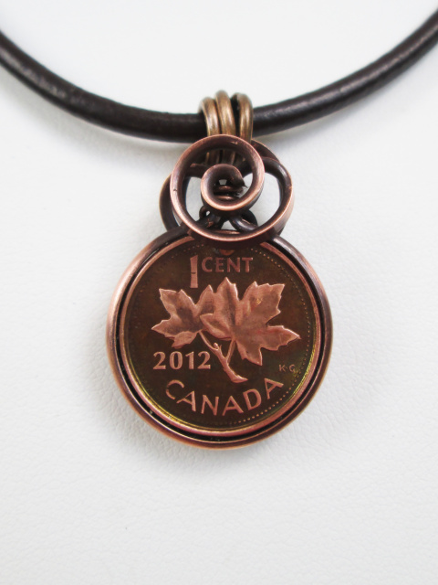 Canadian Penny Necklace on Leather