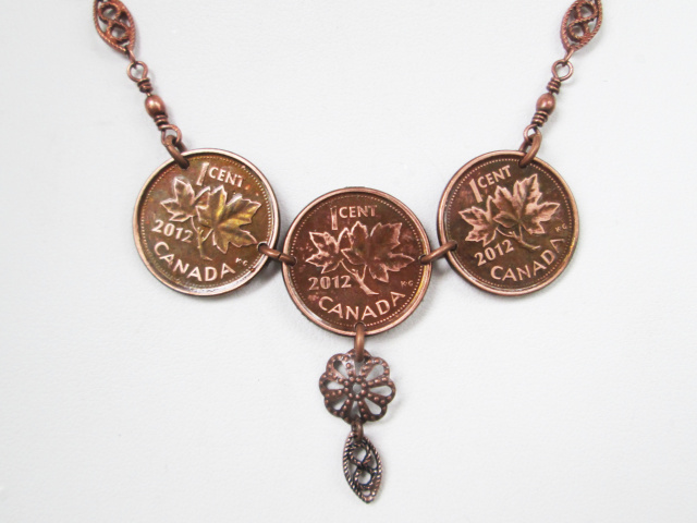 Three Penny Necklace With Drop Detail