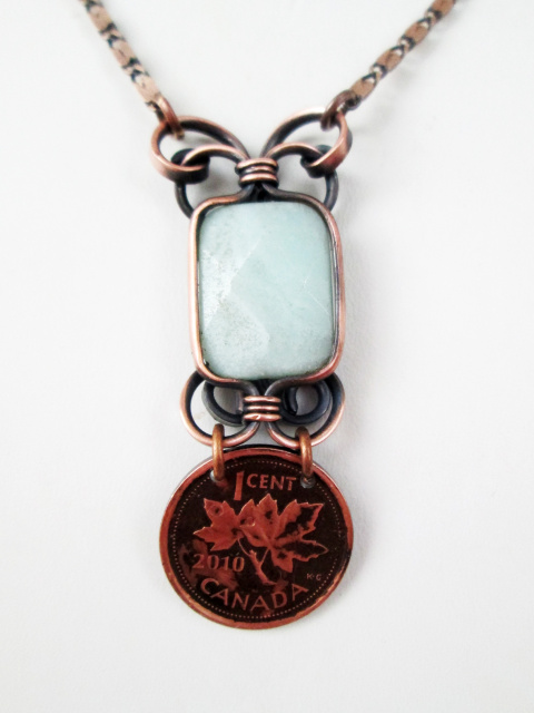 Customizable Stone Pendant with Canadian Penny