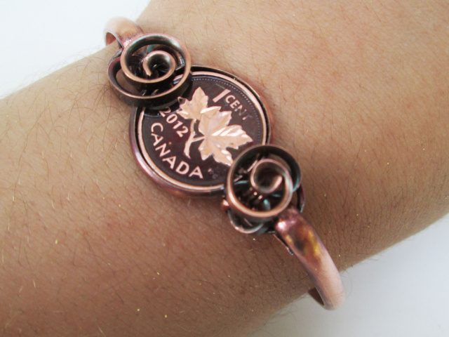 Customizable Canadian Penny Wrapped Cuff Bracelet