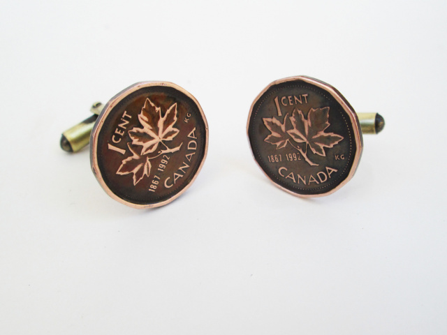 Canadian Maple Leaf Penny Cuff Links
