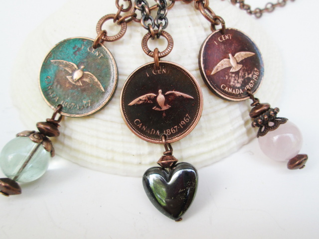 Single Dressed Canadian Penny Necklace (1967 Dove)