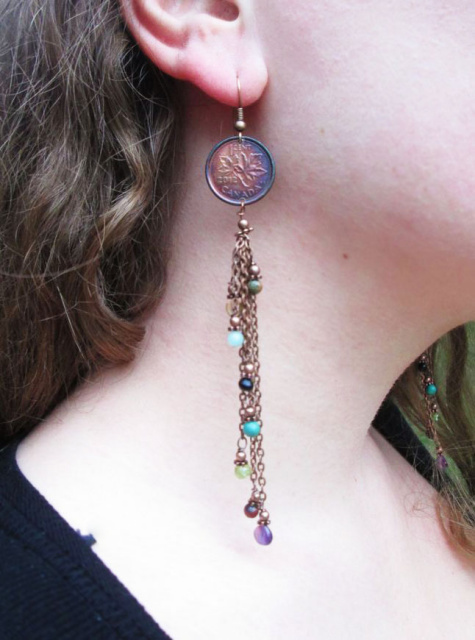 Canadian Penny Chain Earrings with Tassel Stones