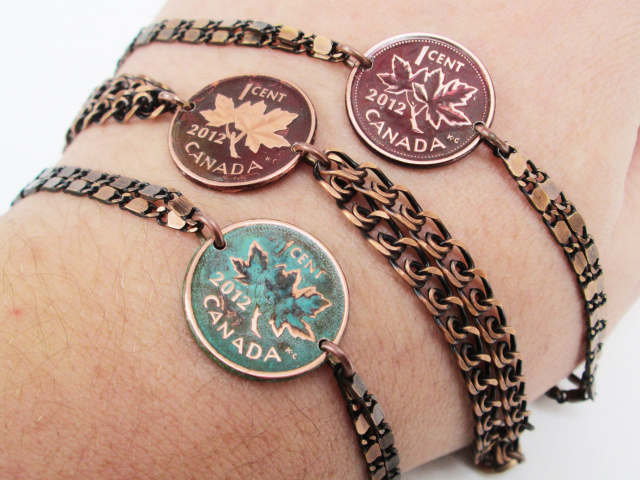 Customizable Canadian Penny Chain Bracelet