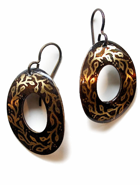 Oval Brass Patterned Earrings (multiple options)