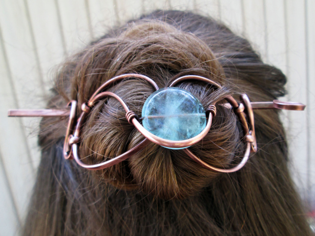 Flourite Copper Hair Piece with Stick