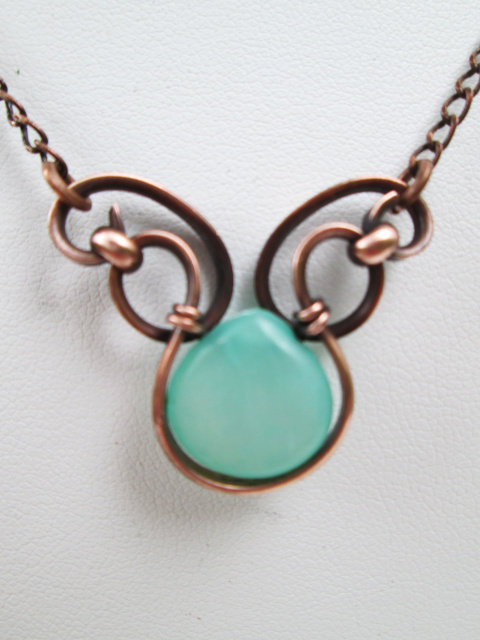Amazonite Double Wing Copper Necklace