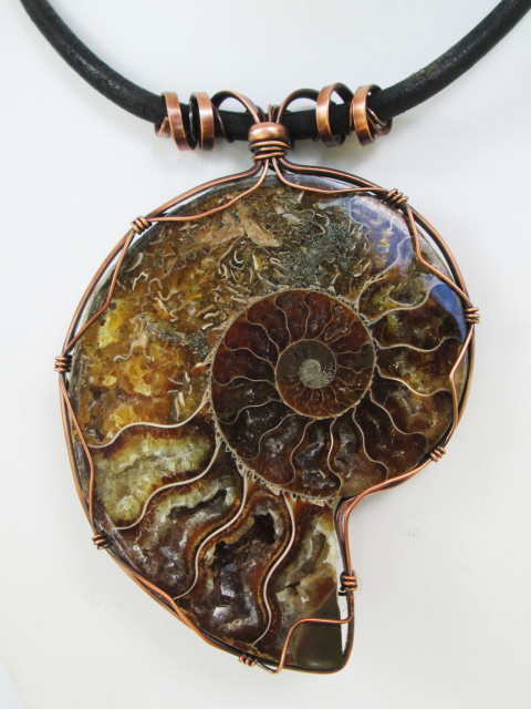 Ammonite Fossil Necklace with Copper and Leather