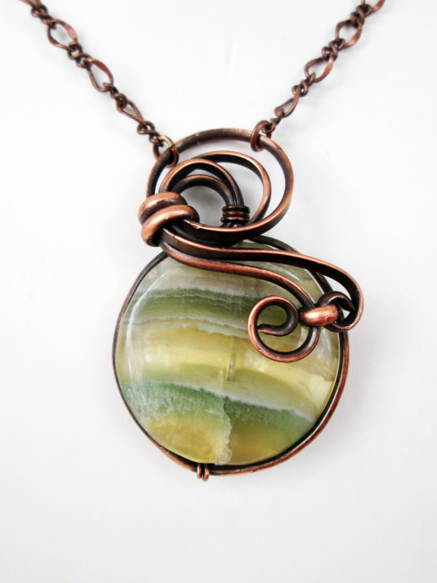 Yellow Flourite Copper Necklace (lg)