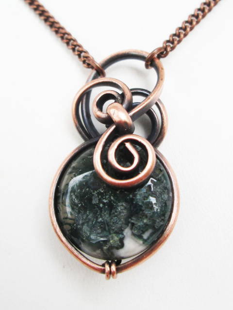 Moss Agate Copper Necklace