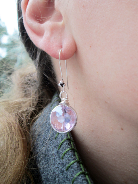Crystal Bling Wire Nest Earrings- Silver
