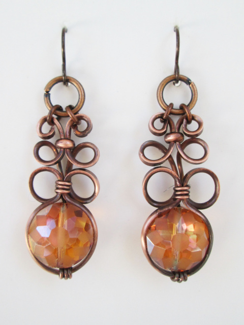 Round Crystal Glass Earrings