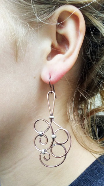Copper Swirl Earrings (lg, sm)