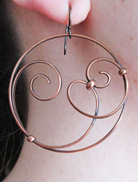 Extra Lg. Copper Hoop Earrings