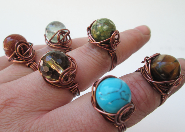 Copper Wire Stone Ring
