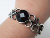 Faceted Onyx Silver Filled Bracelet