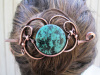 Reconstituted Turquoise Copper Hair Piece