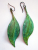 Lg. Brass Patina Leaf Earrings