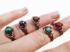 Wire Wrapped Copper Stone Rings, Tarnish Resistant